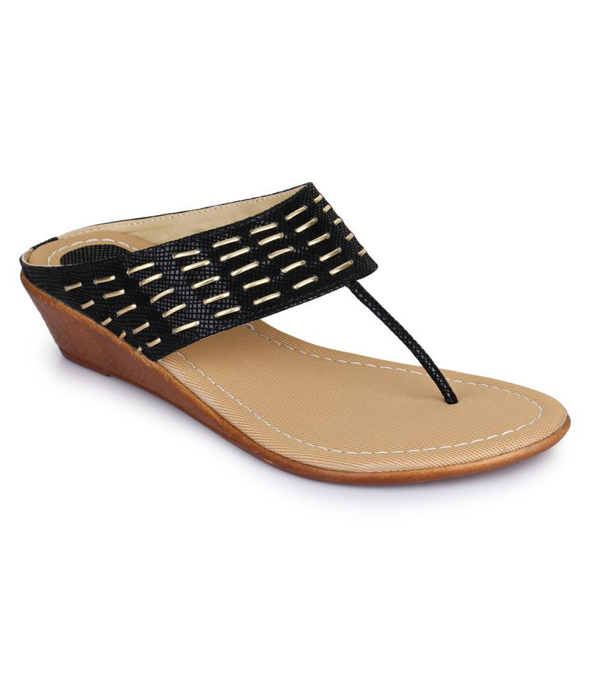 Picktoes Black Wedges Heels