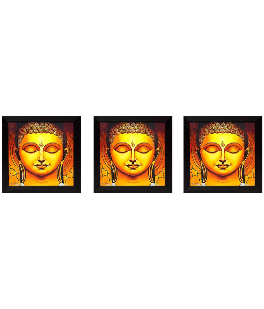 Gallery99 Buddha's Face  -Set Of 3 Canvas Painting With Frame