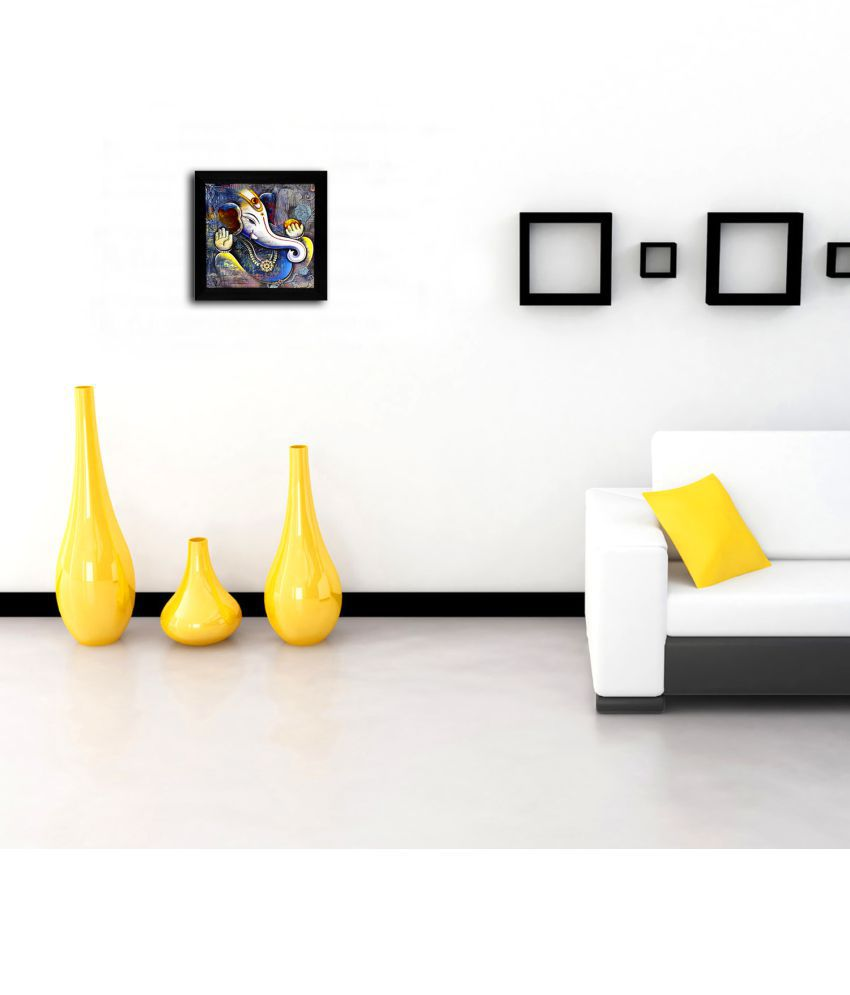 Gallery99 Lucky Ganesha with Right Tilted Trunk & Modak in Other Hand  Canvas Painting With Frame