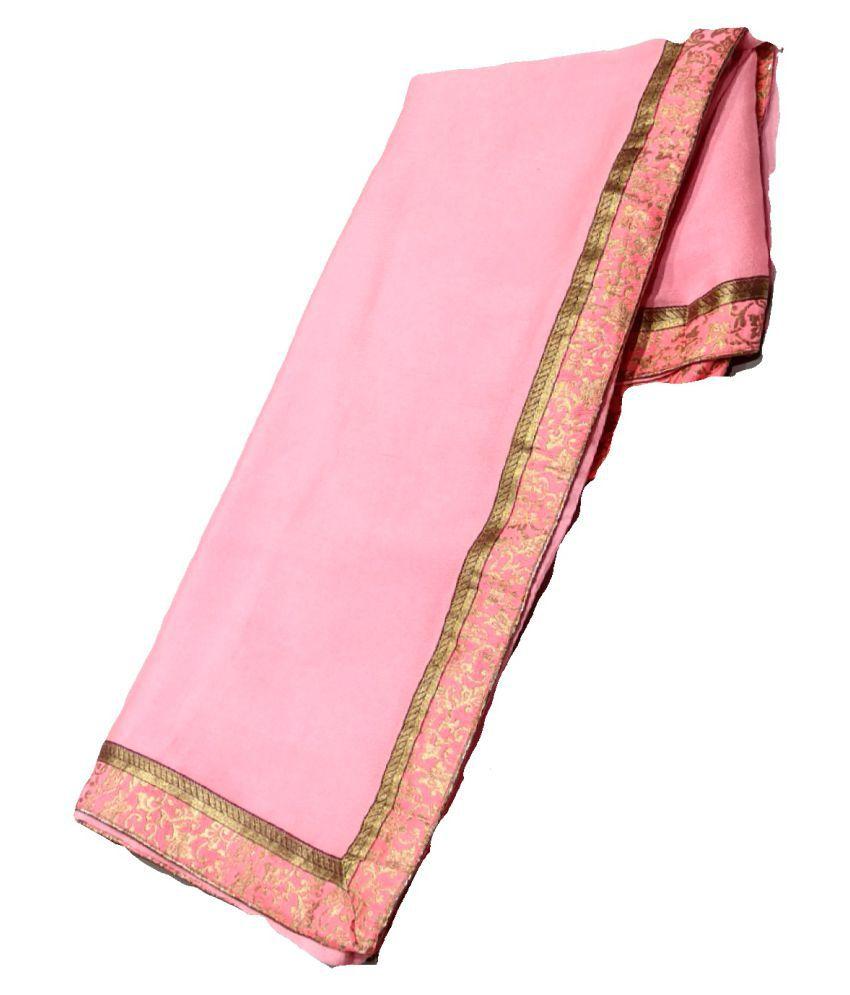 shagun sari Pink Crepe Saree