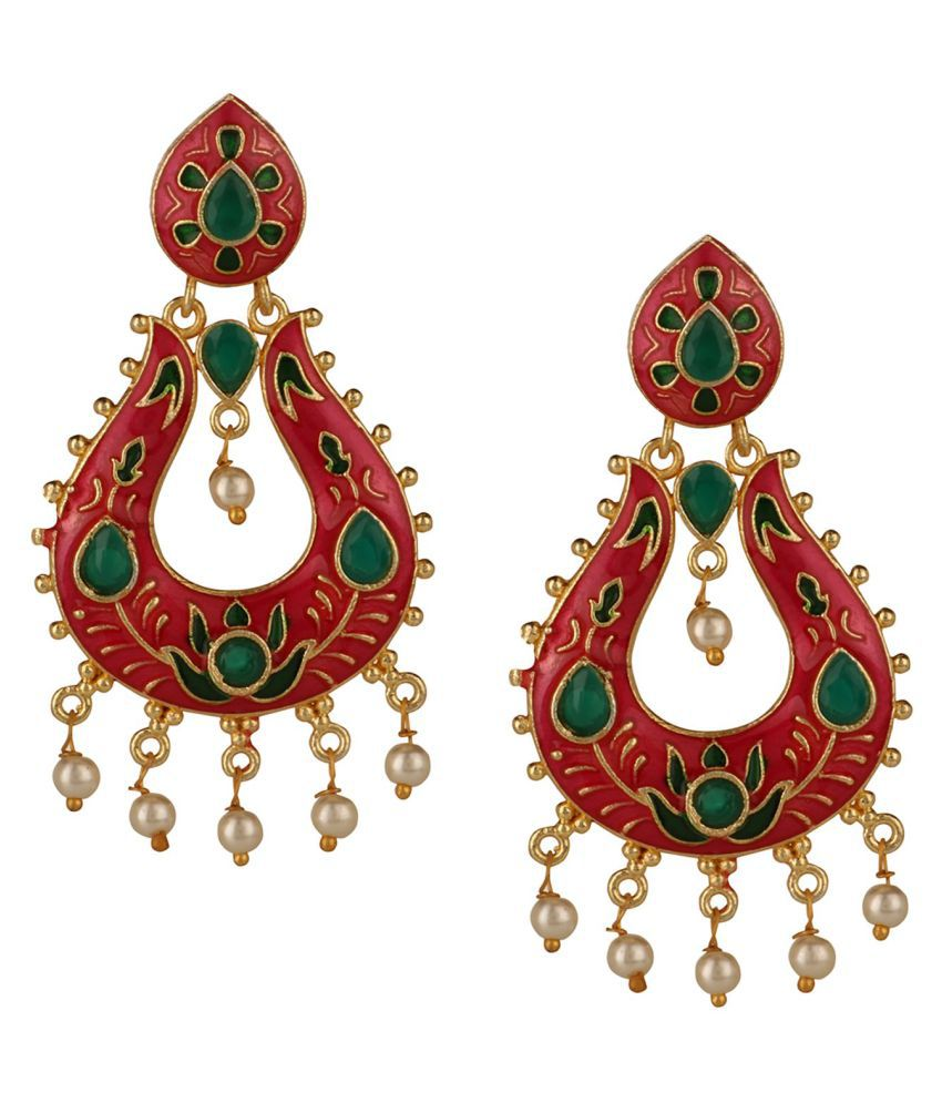 Archi Collection Jewellery Stylish Gold Plated Kundan Meenakari Pearl Drop Fashion Wedding Party Wear Chandbali Danglers Earrings for Women Girls
