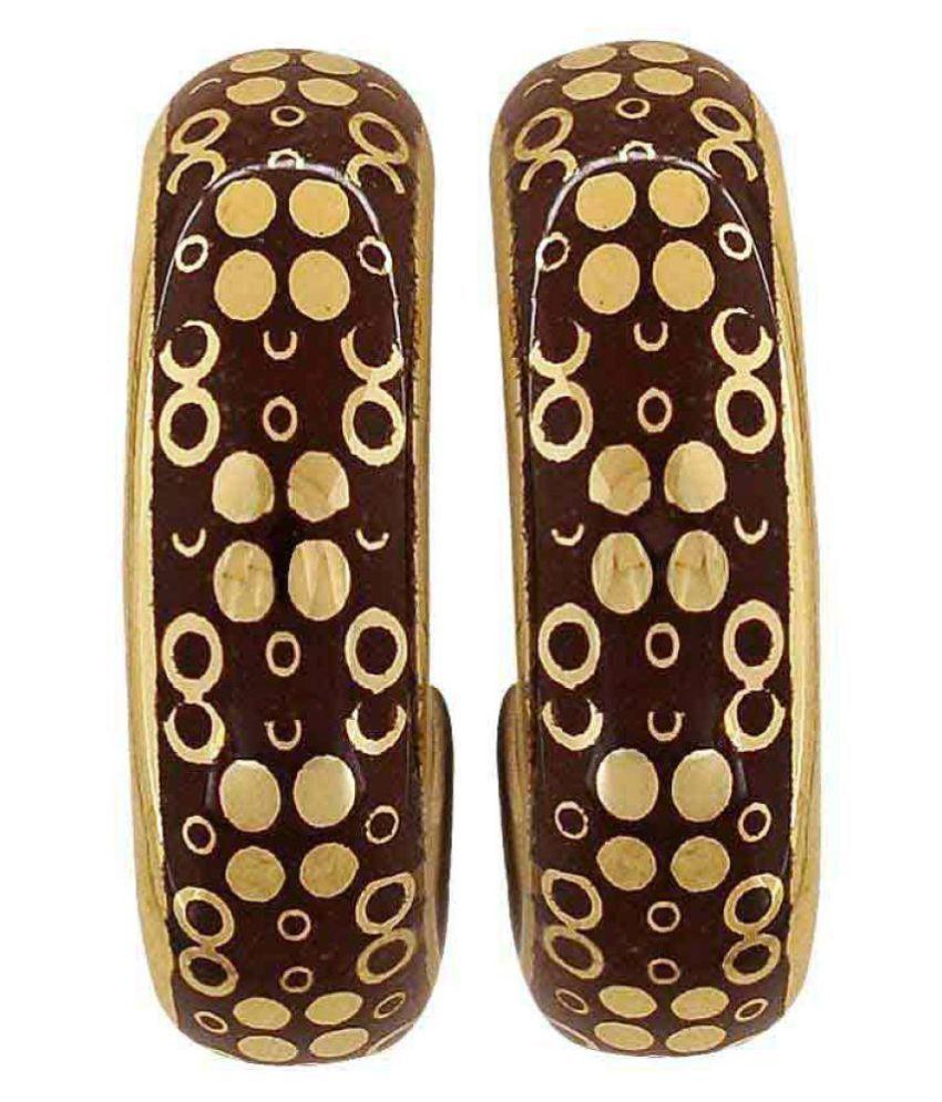 Maayra Enamel Earrings Brown Dangler Drop Office Casualwear Earrings