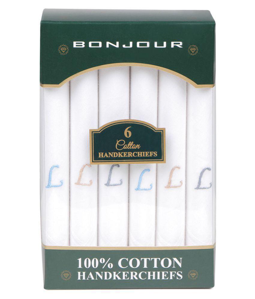 Men #039;s embroidered initial cotton handkerchief L