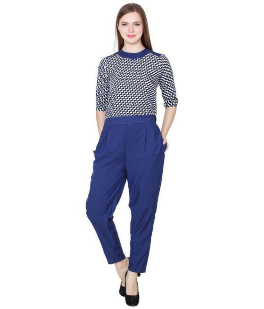 SHNAYA COLLECTION Blue Crepe Jumpsuit