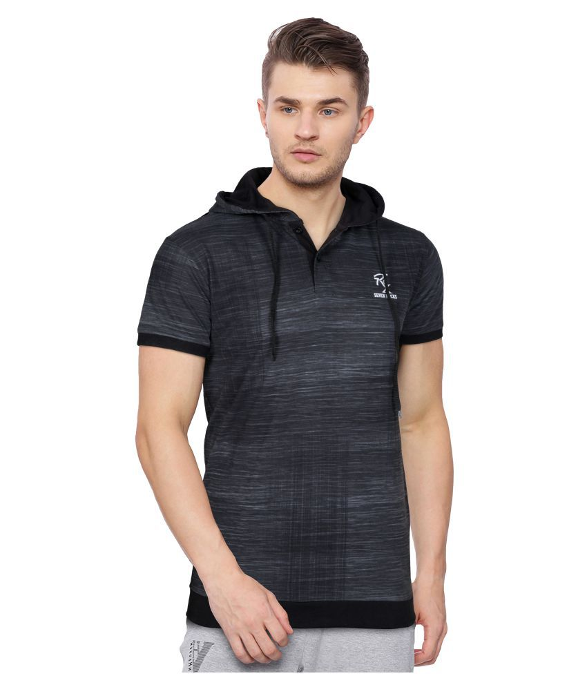 Seven Rocks Black Half Sleeve T-Shirt