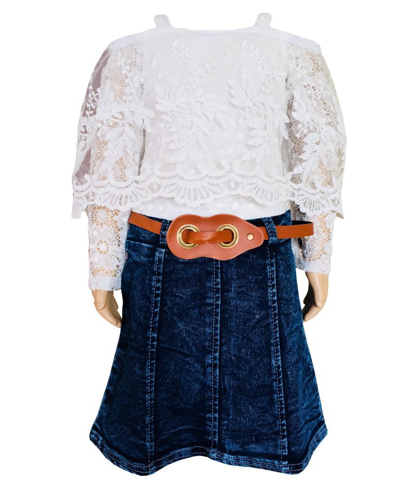 All About Pinks' Embroidered Lace Top and Denim Skirt for Girls (Attached)