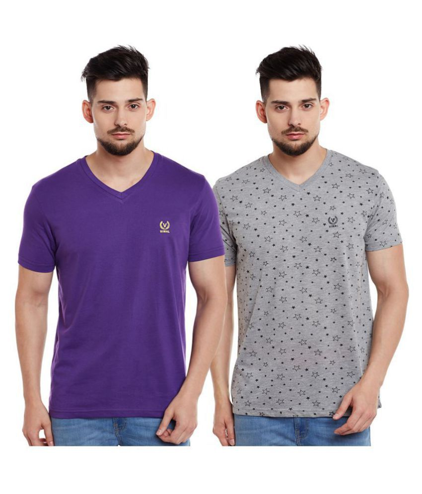 Vimal Multi Half Sleeve T-Shirt Pack of 2