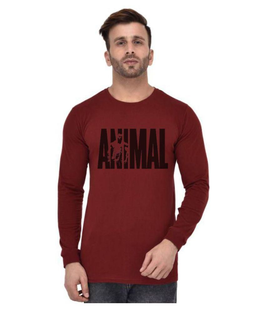 Lime Maroon Full Sleeve T-Shirt Pack of 1