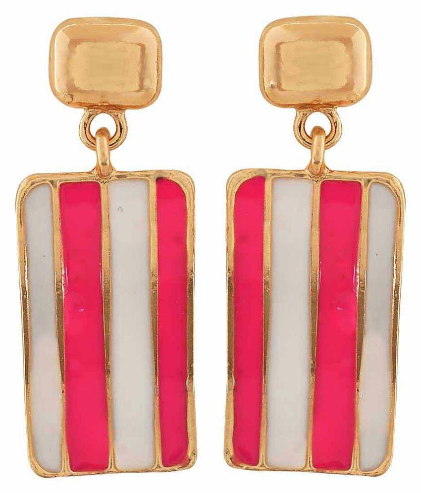 Maayra Twisted Enamel Earrings Pink White Dangler Drop Party Jewellery
