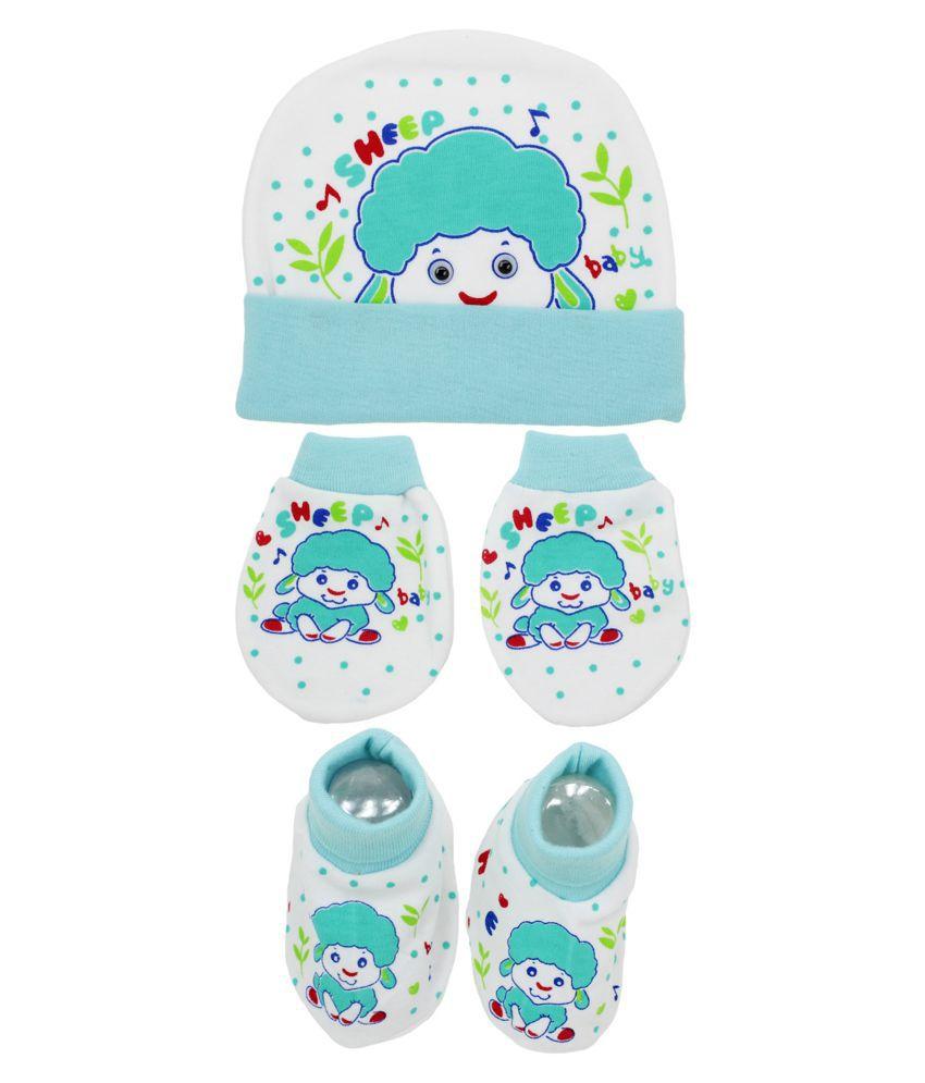Neska Moda Baby Blue Mittens, Booties with Cap Set 3 Pcs Combo (0-6 Months)
