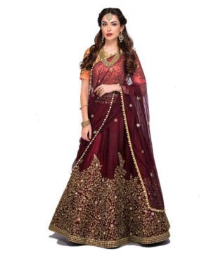 430b1011fce2a3 F Plus Fashion Embroidered Semi Stitched Lehenga Choli(Blue, Gold) Belomoda  White Color Banglori Silk Embroidery Work Semi Stitched Lehen.