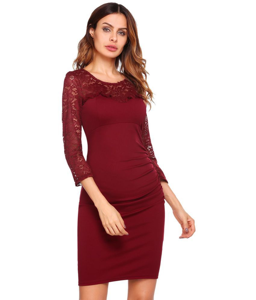 Generic Lace red Pencil Dress