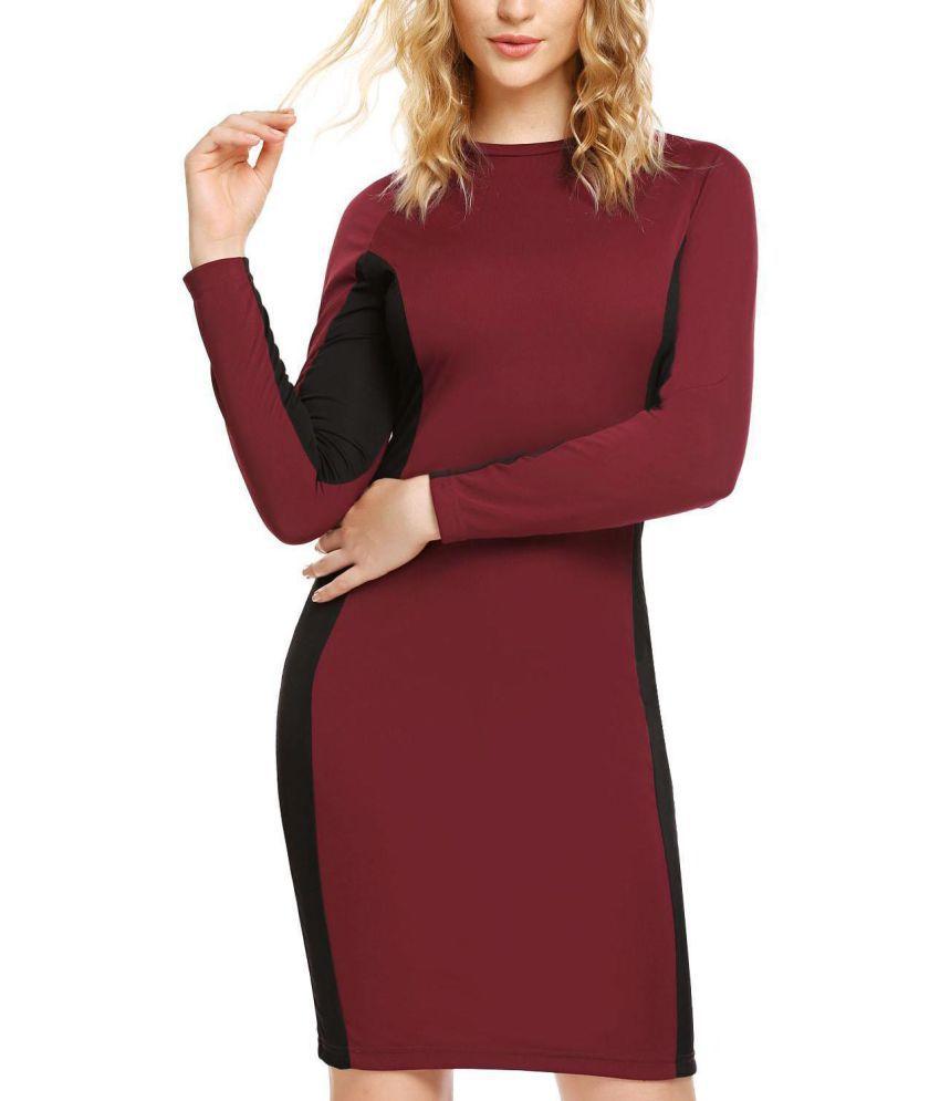 Generic Polyester red Asymmetric dress