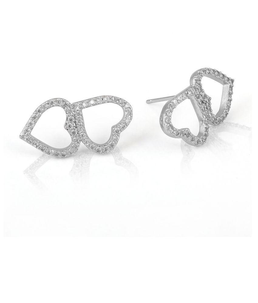 Turtle Box Women's, Girl's Alloy CZ Cubic Zirconia Silver Plated Heart Shape Stud Earring Jewelry