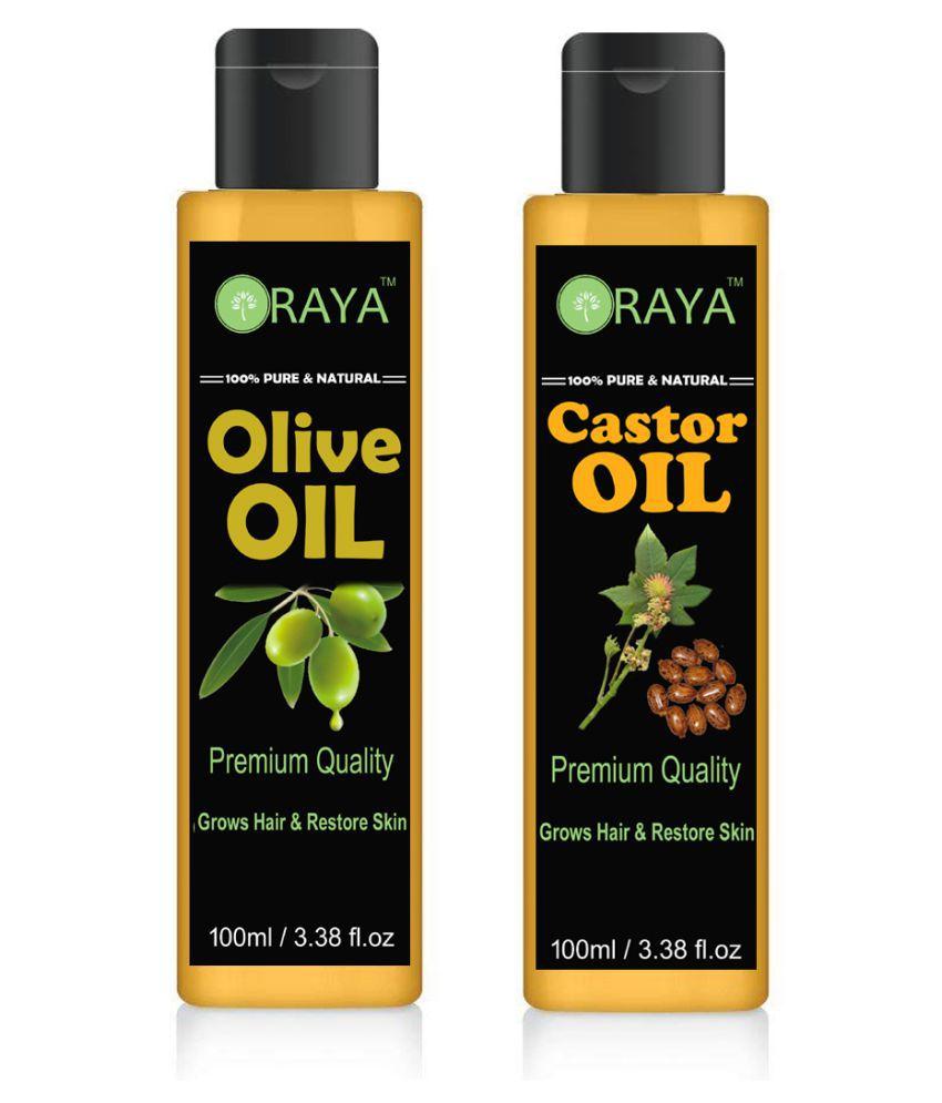 ORAYA 100% Pure & Natural Castor & Olive Oil- 200 ml Pack of 2
