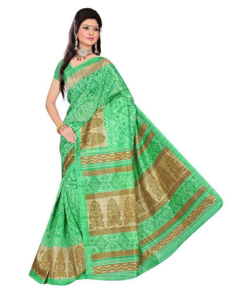 RamRang Green Bhagalpuri Cotton Saree