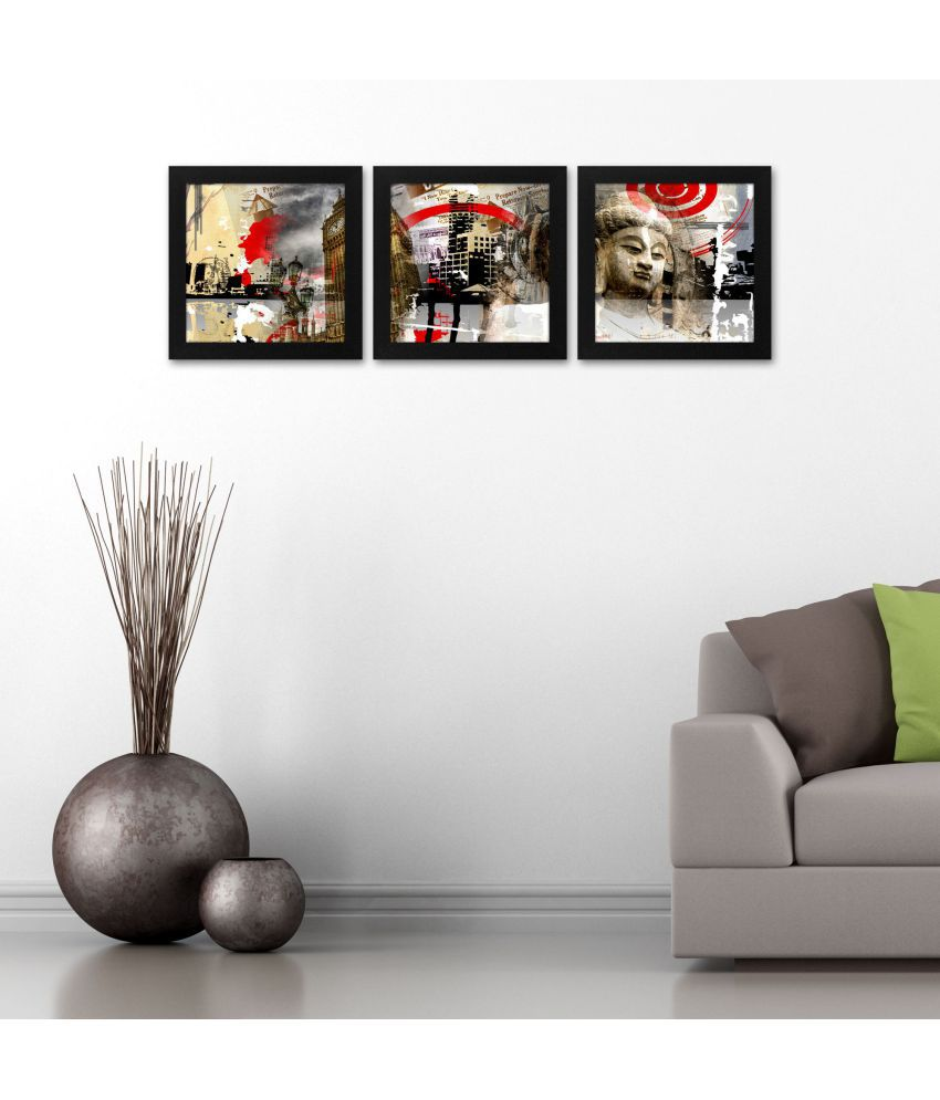 Story@Home PAINTING SET OF 3 Wood Painting With Frame