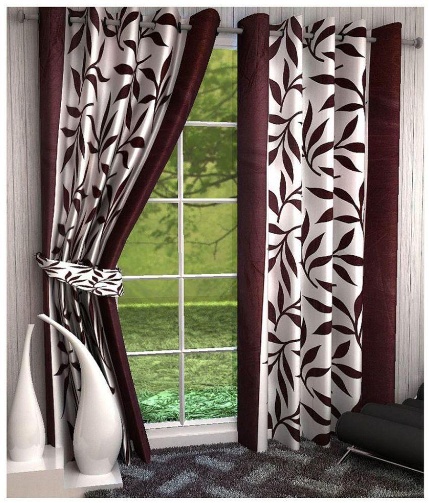Tanishka Fabs Set of 2 Long Door Semi-Transparent Eyelet Polyester Curtains Brown
