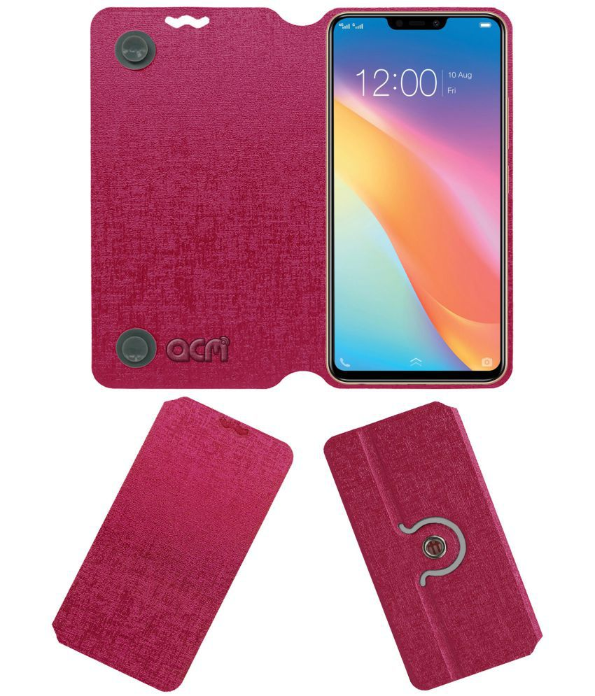more photos d6b7a 48ab2 Vivo Y81 Flip Cover by ACM - Pink Dual Side Stand