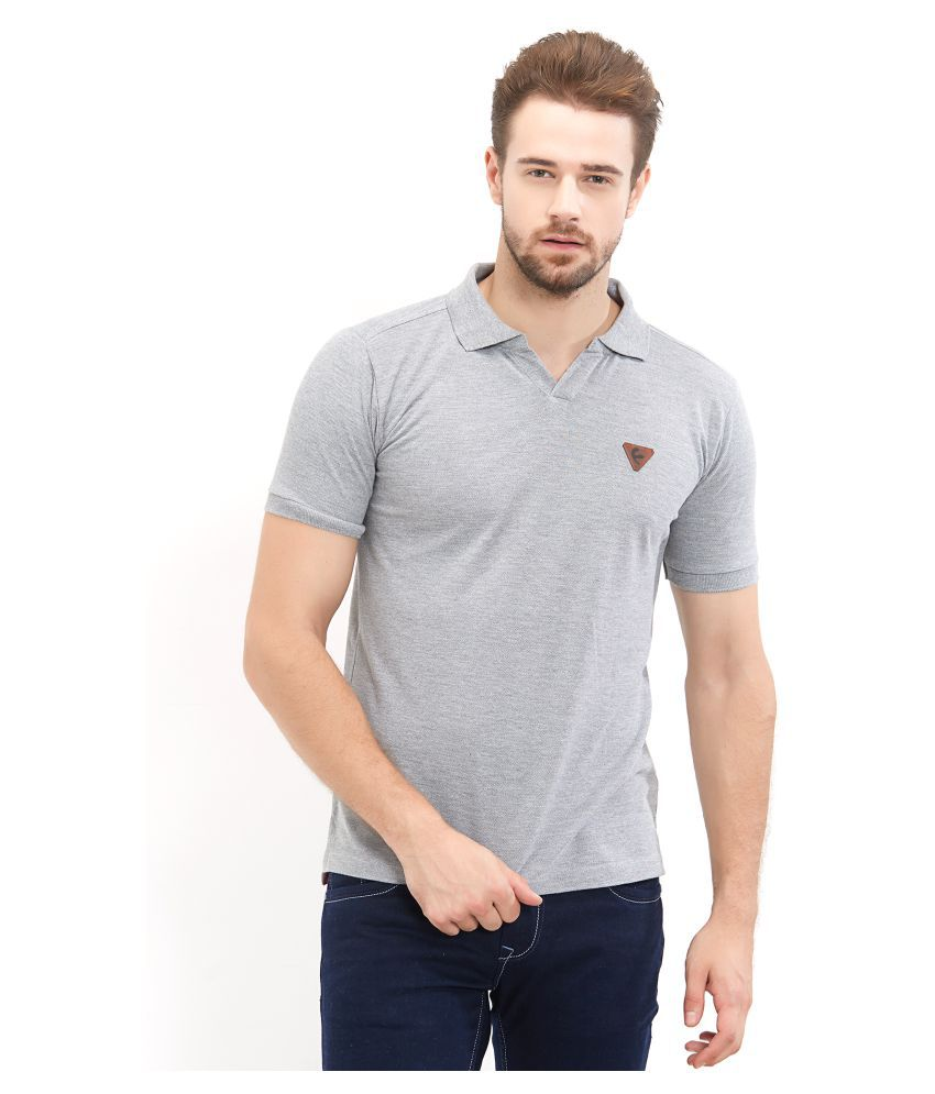 Fitz Grey Cotton Blend Polo T-Shirt Single Pack