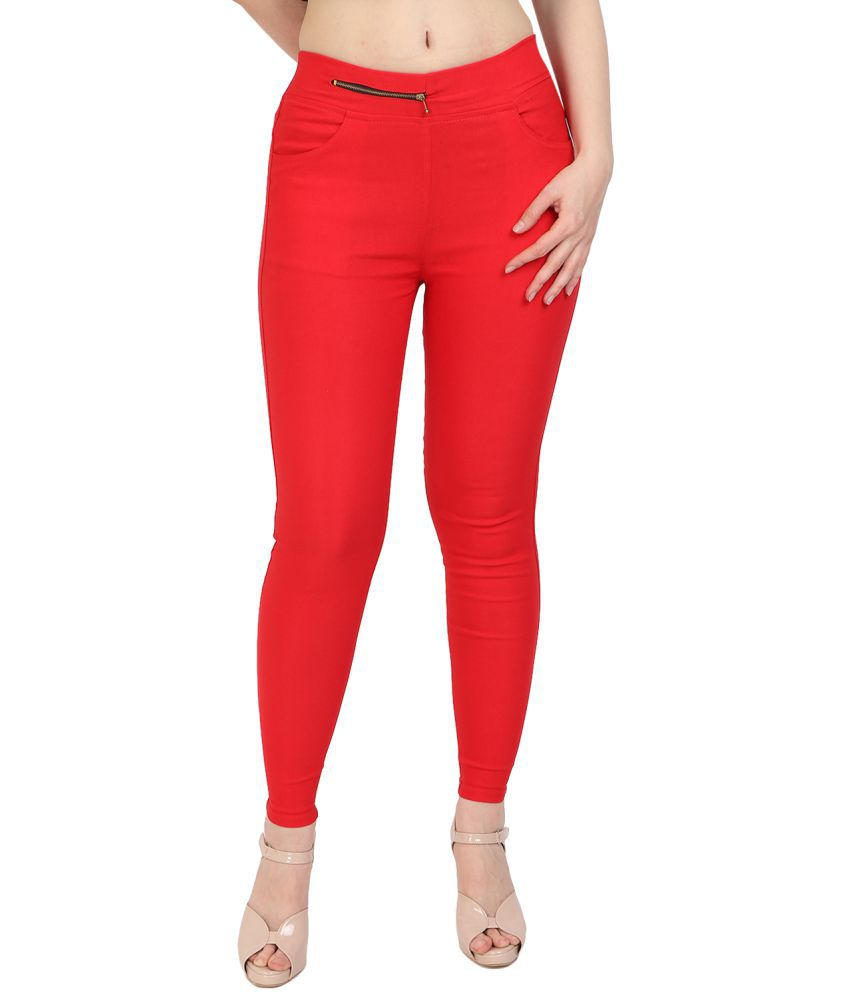 MDJ Cotton Lycra Jeggings - Red