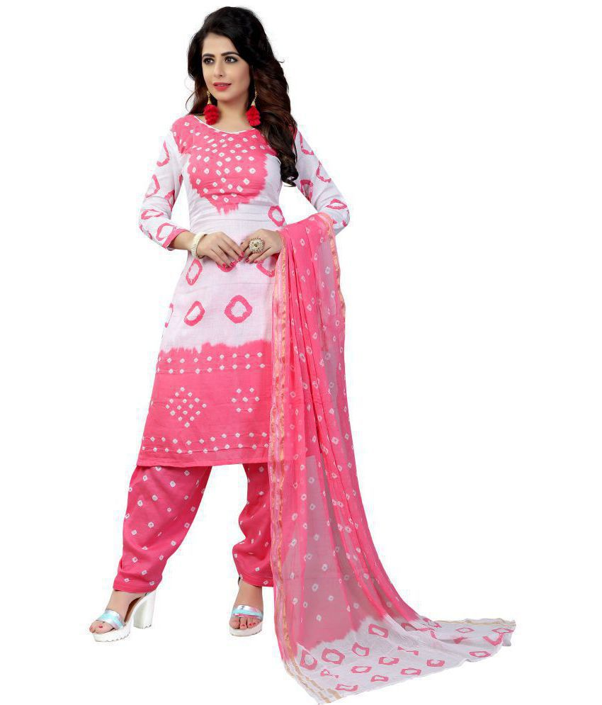 Divine International Trading Co. Pink Cotton Dress Material