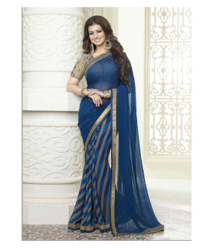 Gazal Fashions Blue Georgette Saree