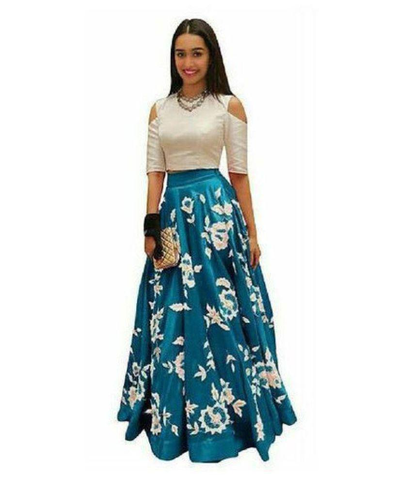 Hirva Collections Turquoise Silk Sharara Semi Stitched Lehenga