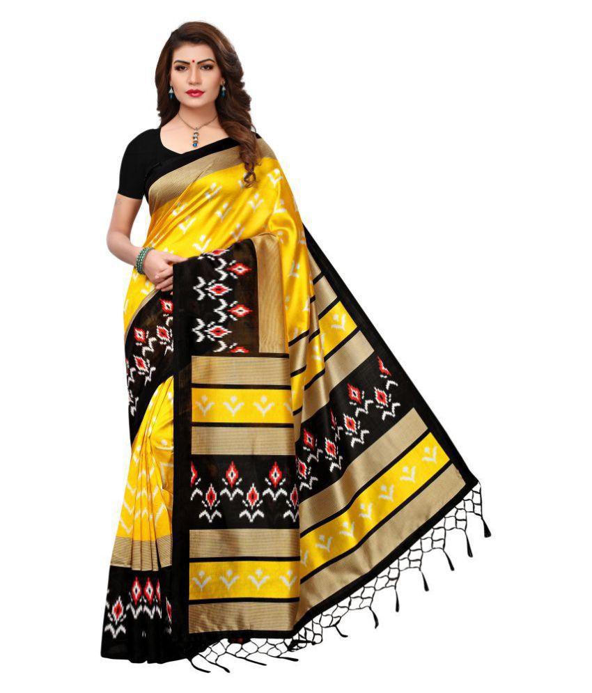 99ac49775 Indira Yellow and Black Mysore Silk Saree - Buy Indira Yellow and Black  Mysore Silk Saree Online at Low Price - Snapdeal.com