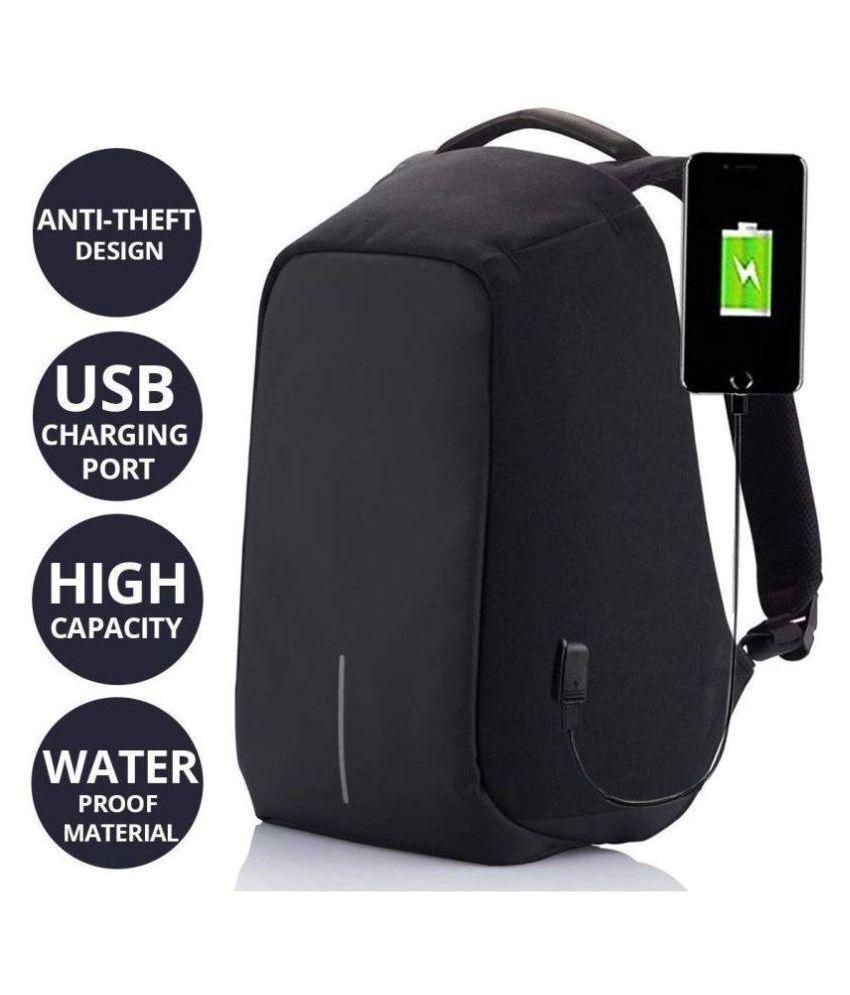 Purple Crane Black antitheft bagpack - 15 L - Laptop bagpack/school bagpack/college bagpack