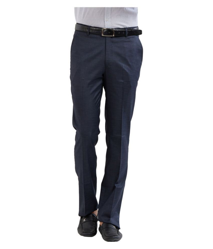 Solemio Navy Blue Regular -Fit Pleated Trousers