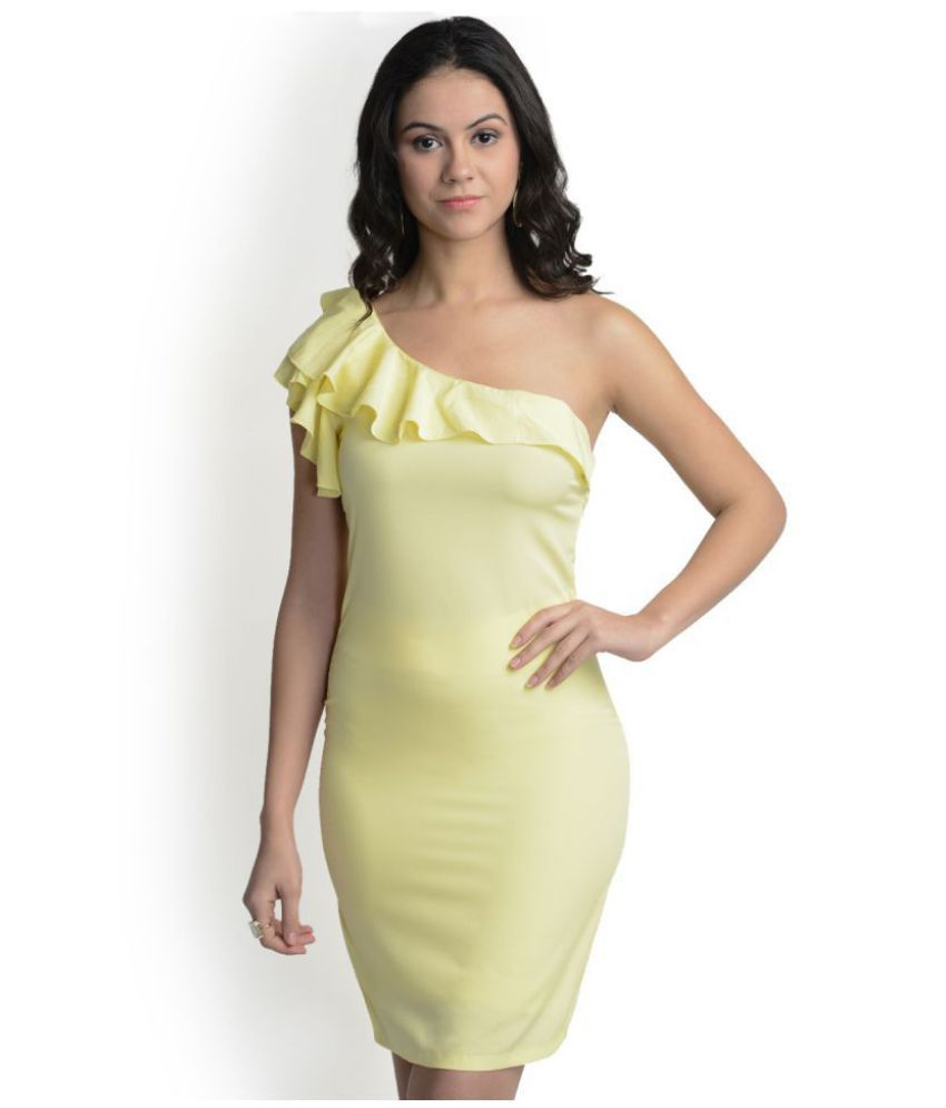 93c95758ef9b  499 Polyester Yellow Bodycon Dress - Buy  499 Polyester Yellow Bodycon  Dress Online at Best Prices in India on Snapdeal