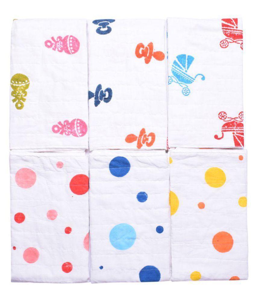 MK HANDICRAFT Blue Cotton Baby Wrap cum blanket ( 75 cm × 65 cm - 6 or more pcs)