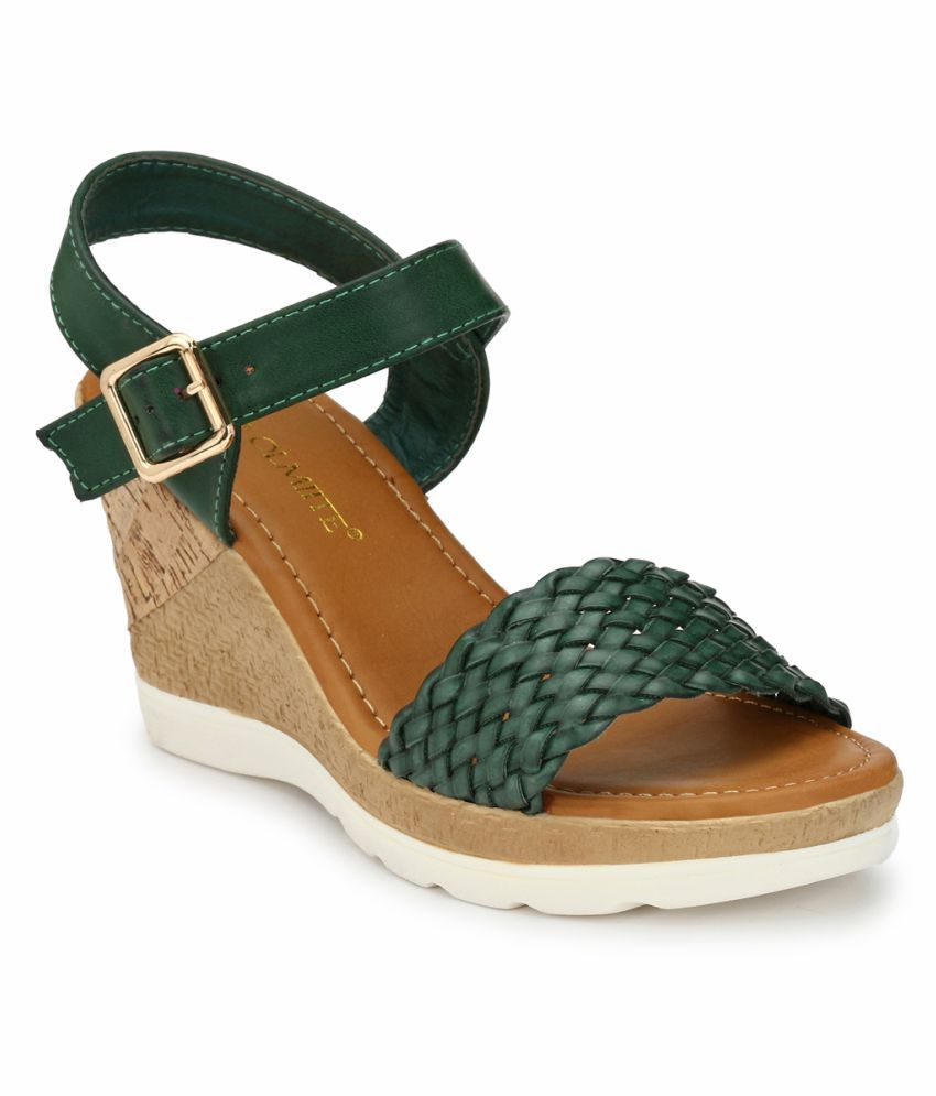 OLMIITE Green Wedges Heels