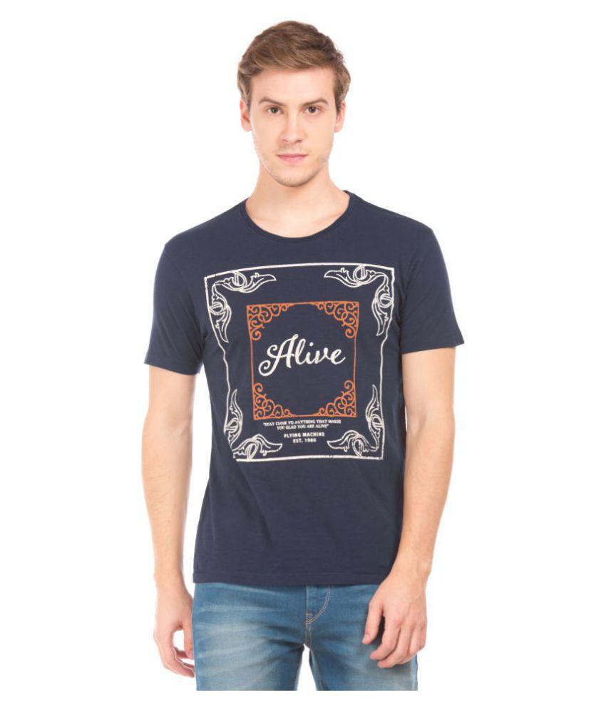 Flying Machine Blue Half Sleeve T-Shirt