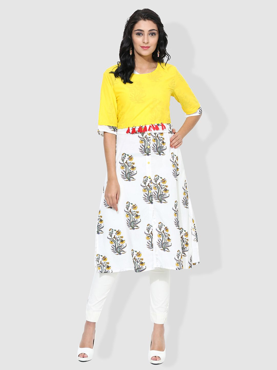 Get Glamr Yellow Cotton A-Line Kurti