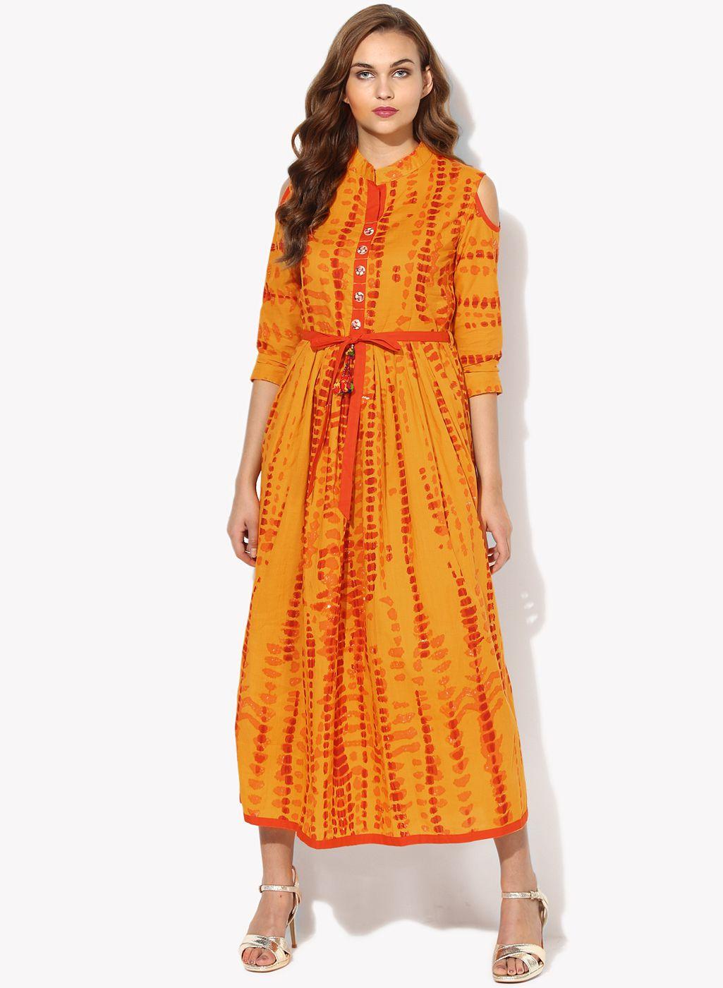 Get Glamr Yellow Cotton Anarkali Kurti