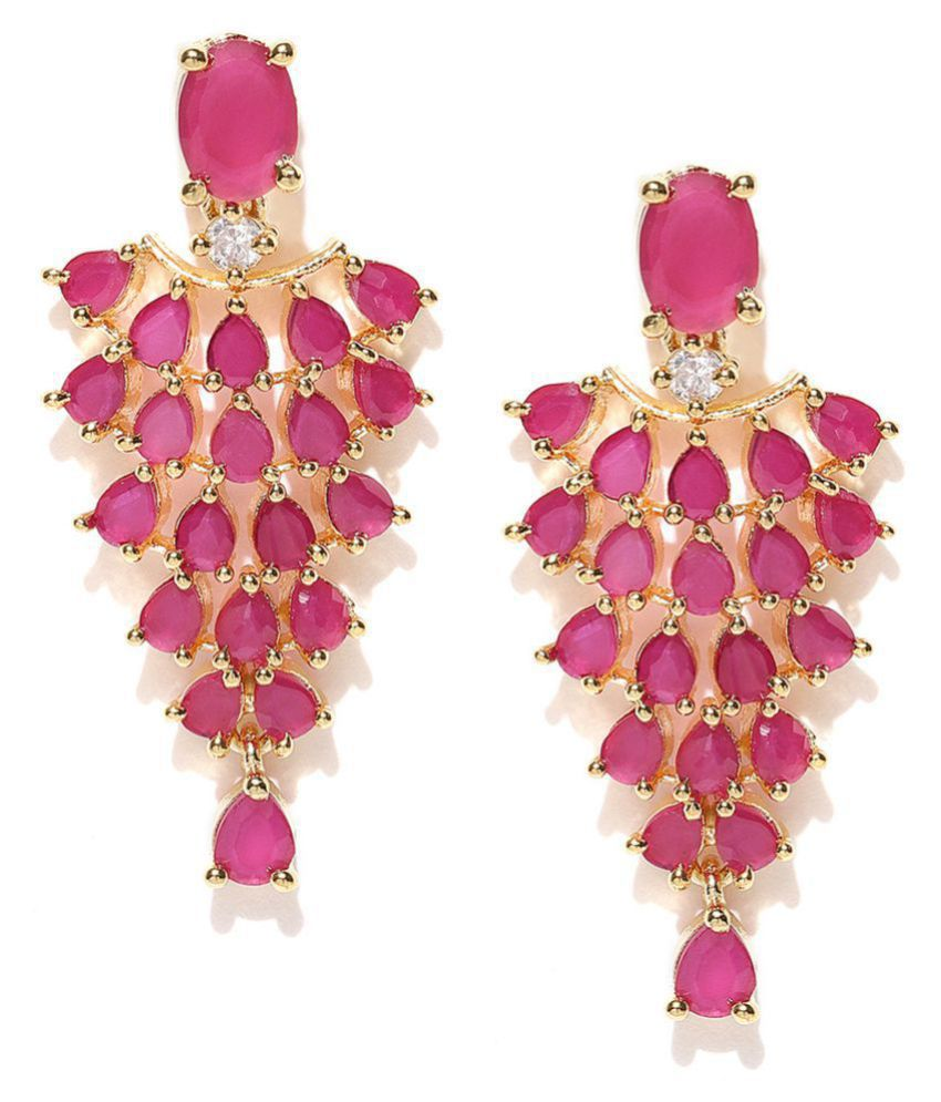 0955896ada2 Jewels Galaxy Elegant Pink AAA CZ Delicate Frill Design Gold Plated  Marvellous Traditional Dangler Earrings For Women/Girls