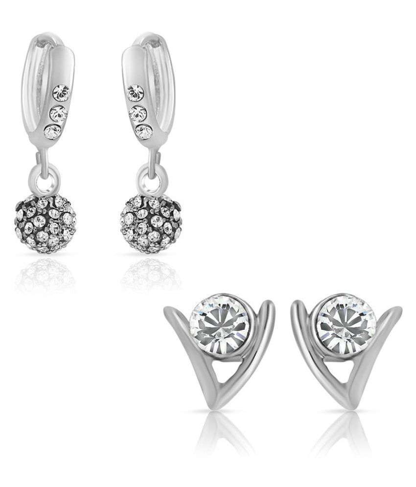 Mahi Silver & White Alloy Earring Combo CO1104415R