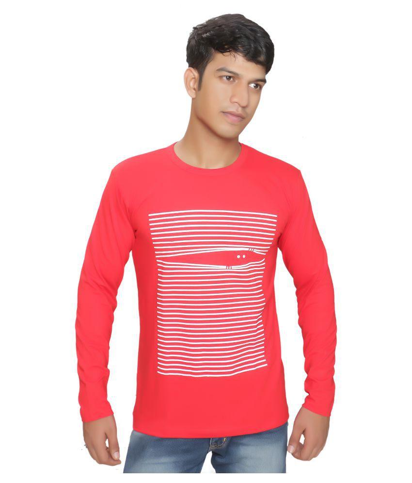 BI FASHION Red Full Sleeve T-Shirt