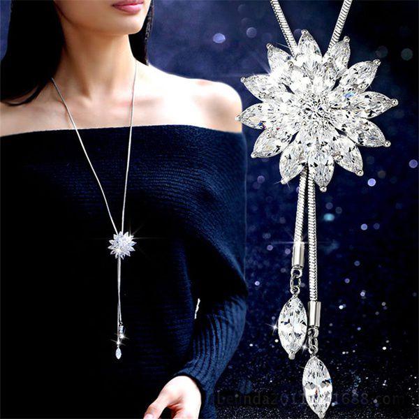 Kamalife Fashion Charm Bridal Engagement Crystal Rhinestone Snowflake Pendant Necklace Women Wedding Jewelry Gifts