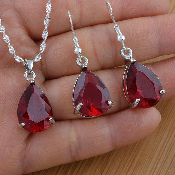 Kamalife Noble Jewelry Set 925 Sterling Silver Red Crystal Zircon Pendant Chain Necklace+stud Earrings for Women Gift (Size:18 inchess)