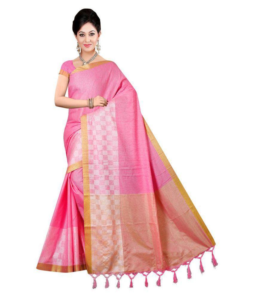 Pehnava Pink Cotton Silk Saree