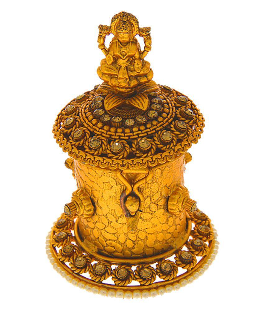 Anuradha Art Golden Finish Studded Sparkling Stone Wonderful Sindoor Box For Women