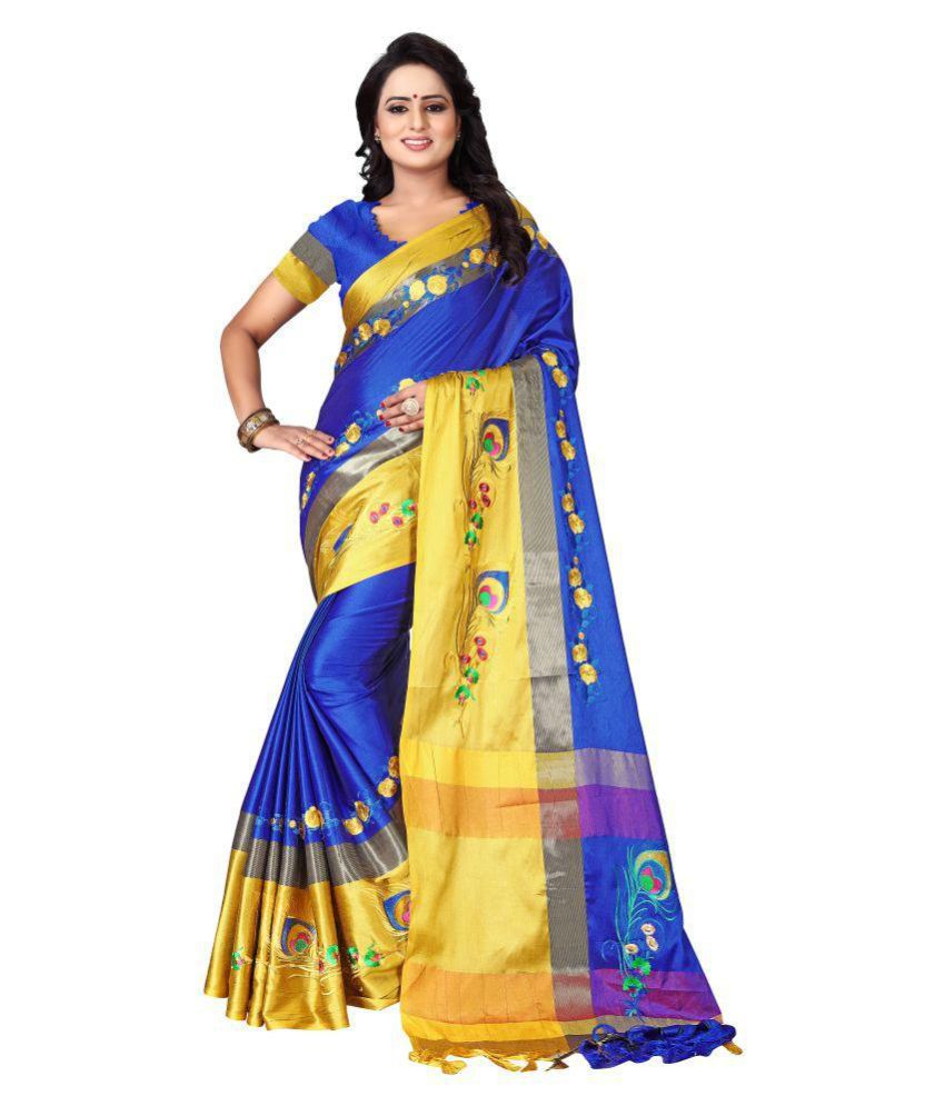 Ethnic Yard Yellow and Blue Polyester Saree