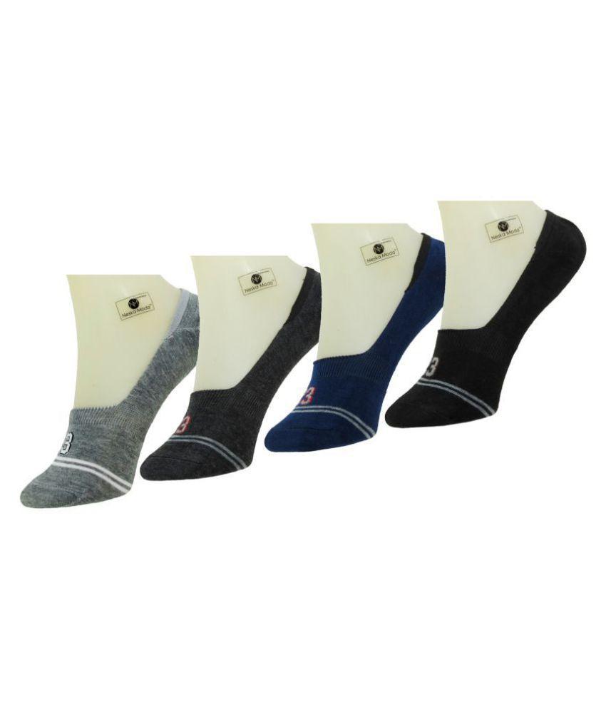 Neska Moda Premium Men & Women 4 Pairs Cotton Loafer Socks With Silicon Gel Grip