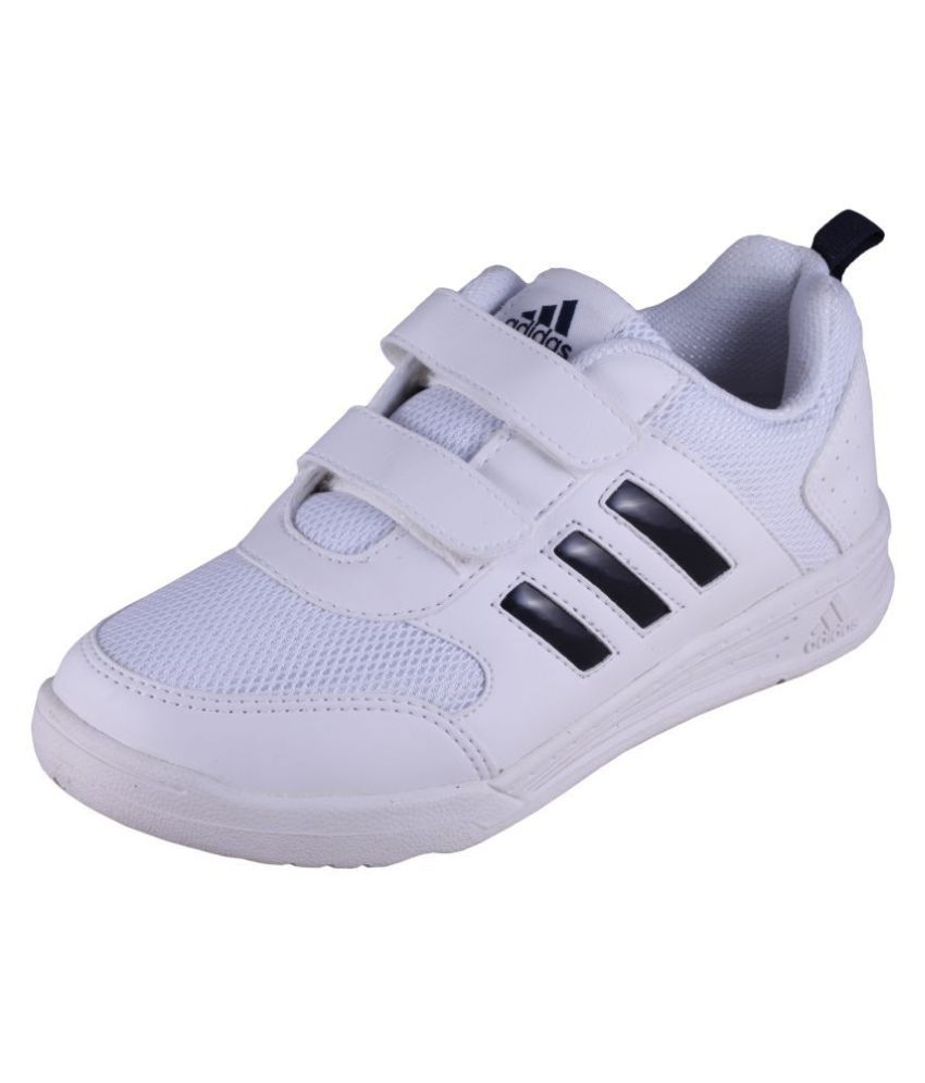Adidas Boy's Flo K white Velcro School Shoes