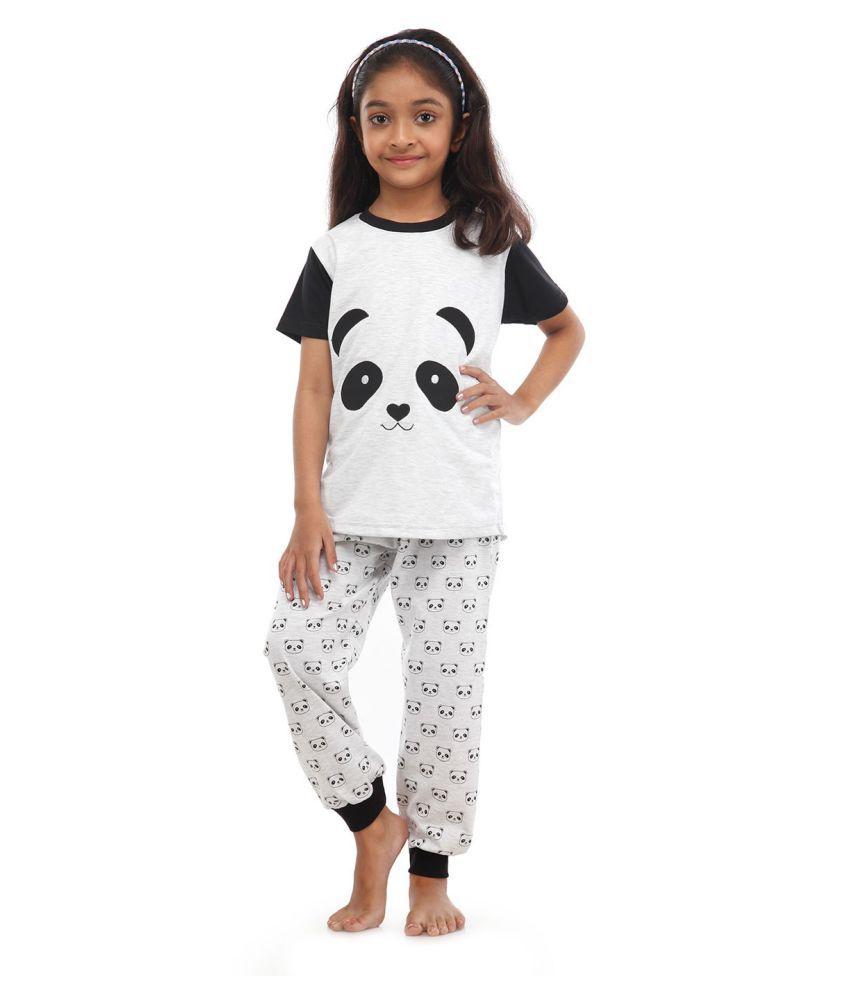 f08400013b Nite Flite Girls Panda Print Cotton Pj set - Buy Nite Flite Girls Panda  Print Cotton Pj set Online at Low Price - Snapdeal
