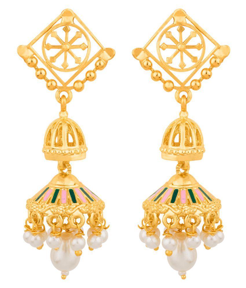Voylla Galaxy Pearl Drop  Earrings