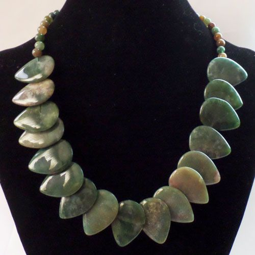 Kamalife 1 Strand Unique Fashion Beautiful Indian Agate Teardrop Necklace 17.5 inch Z89